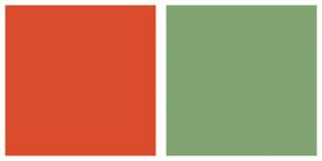 Color Scheme with #DB4C2C #80A572