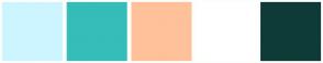 Color Scheme with #CDF5FF #35BDB9 #FFC199 #FFFFFF #0E3B37