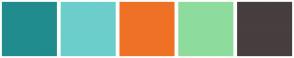 Color Scheme with #218C8D #6CCECB #EF7126 #8EDC9D #473E3F