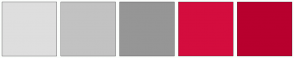 Color Scheme with #DEDEDE #C2C2C2 #969696 #D40D3E #B8002E
