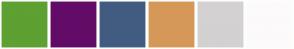 Color Scheme with #5EA032 #620C67 #425C81 #D59859 #D3D1D2 #FCFAFB