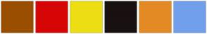 Color Scheme with #9A4E00 #D70606 #EDDE13 #191010 #E38A24 #719FEC