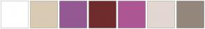 Color Scheme with #FFFFFF #D9CAB4 #945992 #702C2C #AD5794 #E3D7D1 #94877C