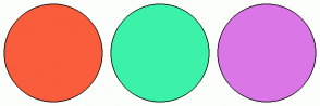 Color Scheme with #F95D3C #3CF2A9 #DB76E7