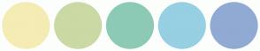 Color Scheme with #F4ECB4 #CBD9A4 #8DCAB5 #97CFE3 #90AAD4