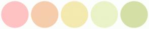 Color Scheme with #FFC2C2 #F6CDAC #F4E9AF #EAF2C8 #D4DFA5