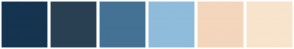 Color Scheme with #153450 #294052 #447294 #8FBCDB #F4D6BC #F8E4CC