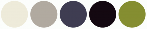 Color Scheme with #EEEBDA #B1AAA0 #3F3D52 #140911 #858E31