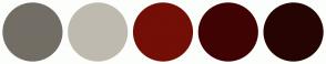 Color Scheme with #736E65 #BFBAB0 #730F06 #400303 #260404
