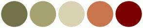 Color Scheme with #727349 #A6A272 #D9D3B4 #C8754D #7B0000