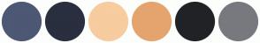 Color Scheme with #4D5874 #292F3F #F7CC9F #E5A46E #212226 #78797E