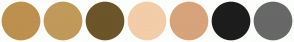 Color Scheme with #BD904F #C09A59 #6C5529 #F3CDA8 #D7A37B #1D1D1D #686868