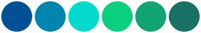 Color Scheme with #005096 #0085AF #03DACE #0BCF7F #12A375 #1B7264