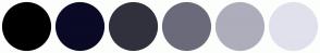 Color Scheme with #000000 #0A0A27 #31313E #6A6A7A #ADADBC #E1E1ED