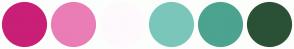 Color Scheme with #C91F77 #EA7DB6 #FEF9FC #7BC6BA #4CA38F #2A5136