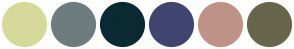 Color Scheme with #D6D999 #6D7C7F #0A2932 #40456F #BF9287 #68654D