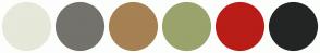 Color Scheme with #E6E8DA #74726C #A68153 #9AA36B #B91D18 #222524