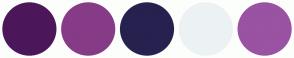 Color Scheme with #4C175A #863B87 #27214F #ECF2F4 #9A52A3