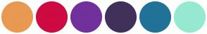Color Scheme with #E99951 #CE0A42 #72309C #40315B #207298 #96E9D0