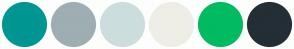 Color Scheme with #009691 #9EAEB3 #CCDDDD #EEEEE7 #00BB60 #242E35