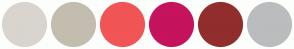 Color Scheme with #D9D4CE #C3BDAF #F15556 #C5135D #912D2D #BBBCBE