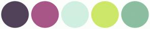 Color Scheme with #514259 #A85687 #D0EFE0 #CDE768 #8CBEA1