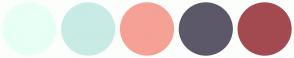Color Scheme with #E8FFF5 #C8EBE5 #F5A196 #5C5869 #A34A50
