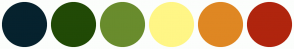 Color Scheme with #06222E #214A06 #698C2D #FFF686 #DF8723 #B0250E