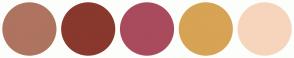 Color Scheme with #AE7460 #89382D #A94B5D #D7A354 #F6D5BC