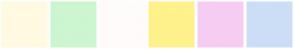 Color Scheme with #FFFAE1 #CCF6CF #FFFBFB #FFF18B #F6CCF3 #CCDEF6