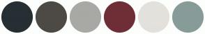 Color Scheme with #262F34 #4D4A45 #A8A9A4 #6E2E37 #E3E1DC #879C98