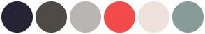 Color Scheme with #262434 #4F4A45 #B9B5B4 #F34A4A #EEE1DB #879C98