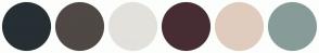 Color Scheme with #262F34 #4F4845 #E3E1DC #472D33 #DFCCBE #879C98