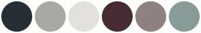 Color Scheme with #262F34 #A8A9A4 #E3E1DC #472D33 #8F8181 #879C98