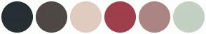 Color Scheme with #262F34 #4F4845 #DFCCBE #9F3F4B #AB8584 #C3D0C2