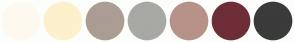 Color Scheme with #FEF9F0 #FDF0CC #AB9D94 #A8A9A4 #B89288 #6E2E37 #3B3B3B