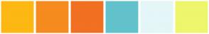 Color Scheme with #FDB813 #F68B1F #F17022 #62C2CC #E4F6F8 #EEF66C