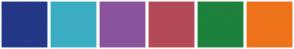 Color Scheme with #243887 #3BADC3 #8B559D #B44958 #1E813D #EE731B