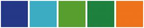 Color Scheme with #243887 #3BADC3 #589E2F #1E813D #EE731B