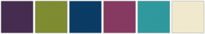 Color Scheme with #462D50 #7F8C31 #0A3C66 #873A61 #2F999E #F0E9CE