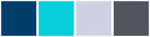 Color Scheme with #003F6B #04CED8 #D0D1E1 #53535E