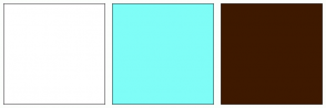 Color Scheme with #FFFFFF #7FFDF7 #3E1900