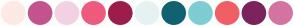 Color Scheme with #FDE9E5 #C3548D #F2D2E2 #EE5B7F #9C1D4B #E6F2F2 #106271 #7ECDD2 #F05F66 #7C235D #D474A3