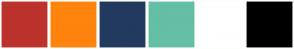 Color Scheme with #BC322C #FE840E #223A5E #64BFA4 #FFFFFF #000000