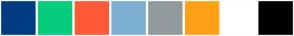 Color Scheme with #003C82 #7DAFD2 #919B9C #FE5A37 #FFA016 #06CC7D #FFFFFF #000000