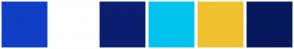Color Scheme with #103EC5 #FFFFFF #0B1E70 #00C3ED #EFC12F #06175C