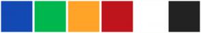 Color Scheme with #1349B2 #00B74E #FFA428 #BF141C #FFFFFF #222222