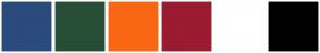 Color Scheme with #264E36 #2A4B7C #F96714 #9B1B30 #FFFFFF #000000