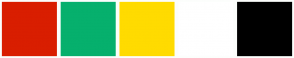 Color Scheme with #D91E00 #06B06D #FFDB00 #FFFFFF #000000