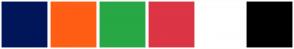 Color Scheme with #001659 #FF5E14 #28A745 #DC3545 #FFFFFF #000000